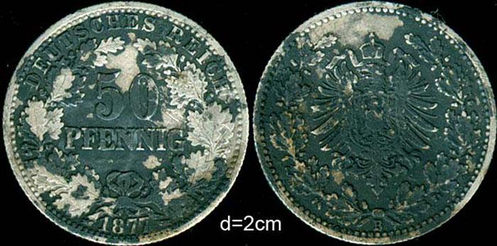 Пример окислов на серебряной монете