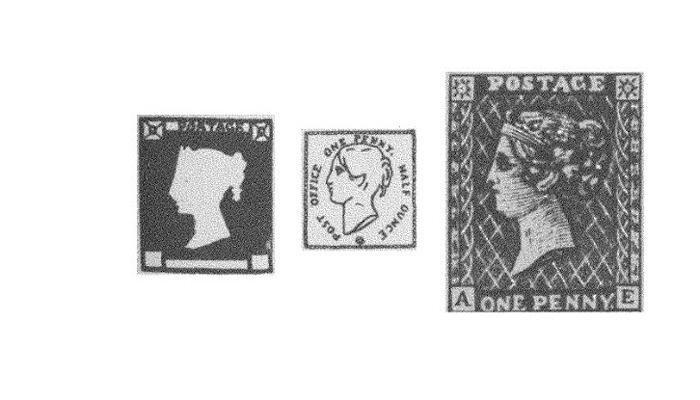 Образцы первых марок «Черный пенни»