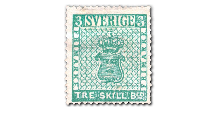 Почтовая марка из Швеции - Желтый трехскиллинговик