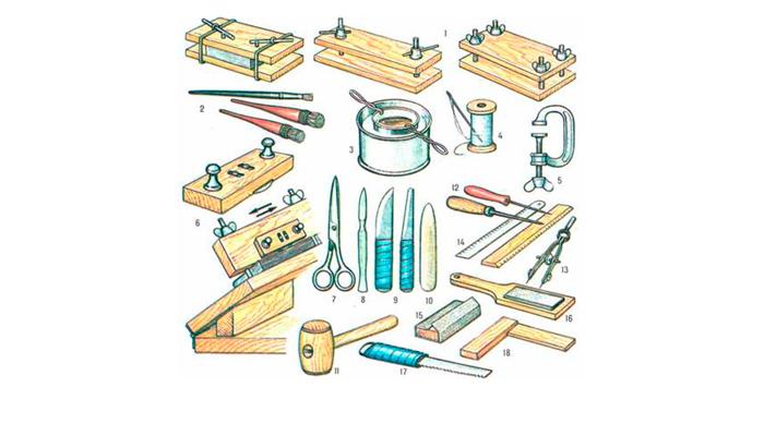 Необходимые инструменты для изготовления переплета для старой книги своими руками