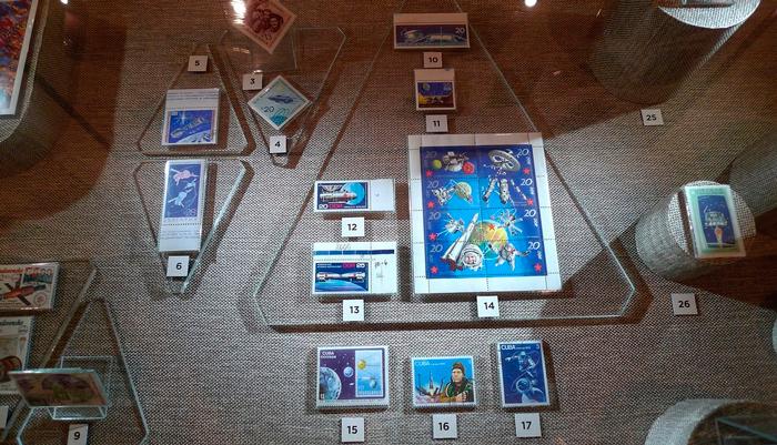Выставка почтовых марок про космос в СССР в Музее Космонавтики