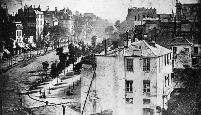 Фотография Дагер «Вид на бульвар дю Тампль» 1838 года