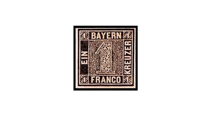 Почтовая марка из Баварии «Черная единица»