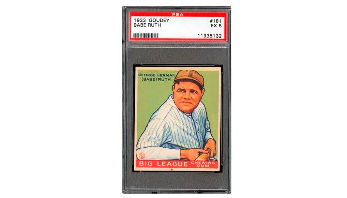 Бейсбольная карточка с изображением самого непреодолимого питчера «Рэд Сокс» Джоржа Германа Рута