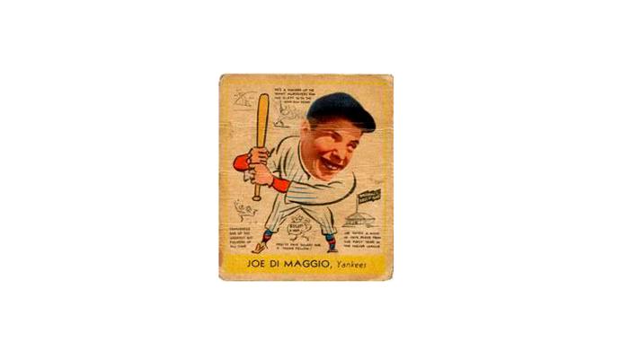 Бейсбольная карточка с легендарным отбивающим команды «Нью-Йорк Янкиз» Джо ДиМаджио