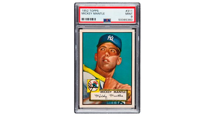 Карточка со знамениты бейсболистом Микки Мантлом