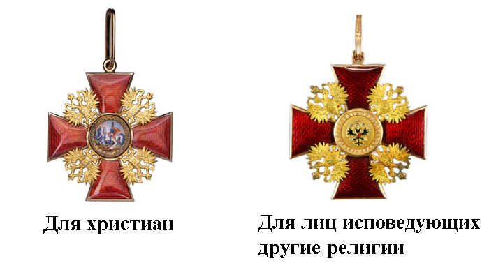 Два начальных варианта исполнения ордена Александра Невского