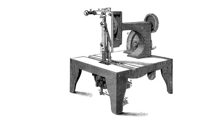Схема первой швейной машинки «Зингер»