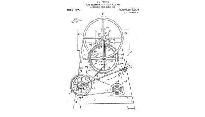 Чертеж первой стиральной машинки А. Фишера